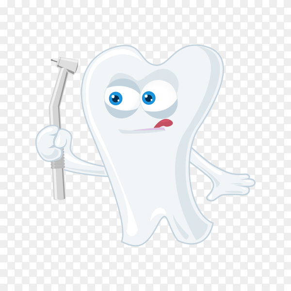 Cute cartoon tooth illustration on transparent background PNG.png