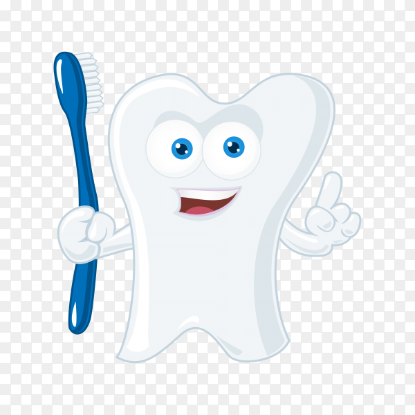 Cute cartoon tooth on transparent background PNG.png