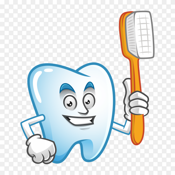 Cute cartoon tooth with toothbrush on transparent backgrond PNG.png