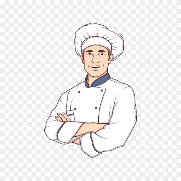 Cute chef cartoon character on transparent background PNG