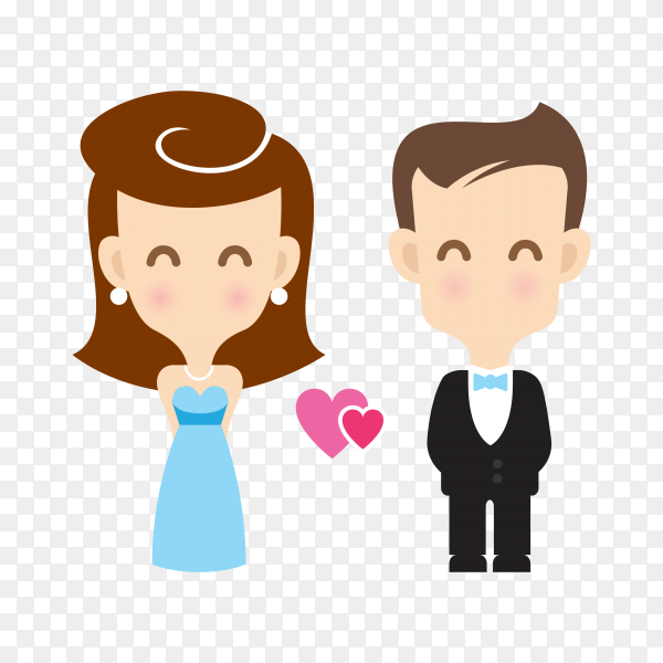 Cute couple cartoon character on transparent PNG