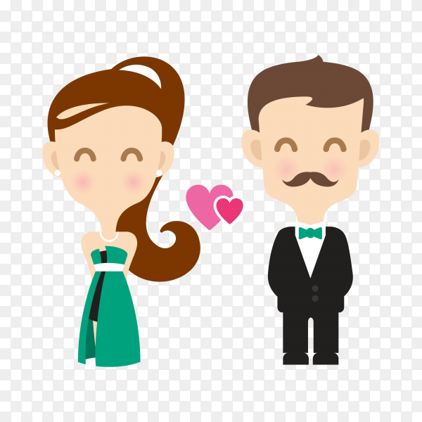 Cute couple cartoon character on transparent background PNG