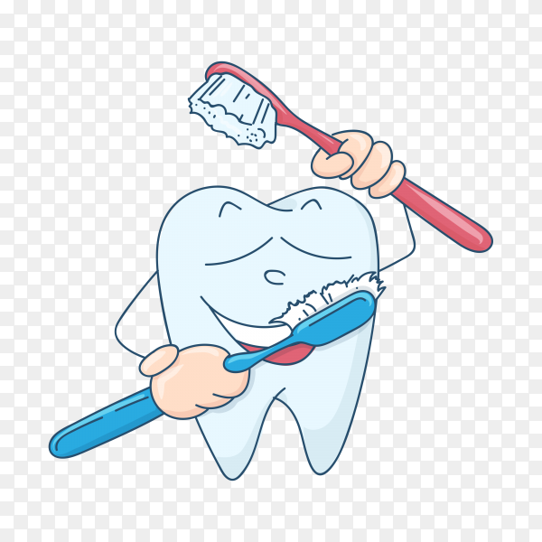Cute tooth character in flat style isolated on transparent background PNG.png