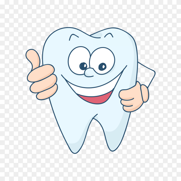 Cute tooth character in flat style on transparent background PNG.png