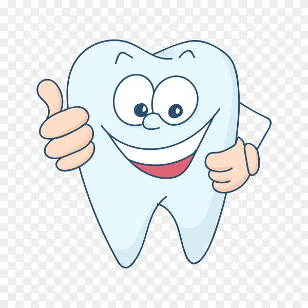 Cute tooth character in flat style premium vector PNG.png