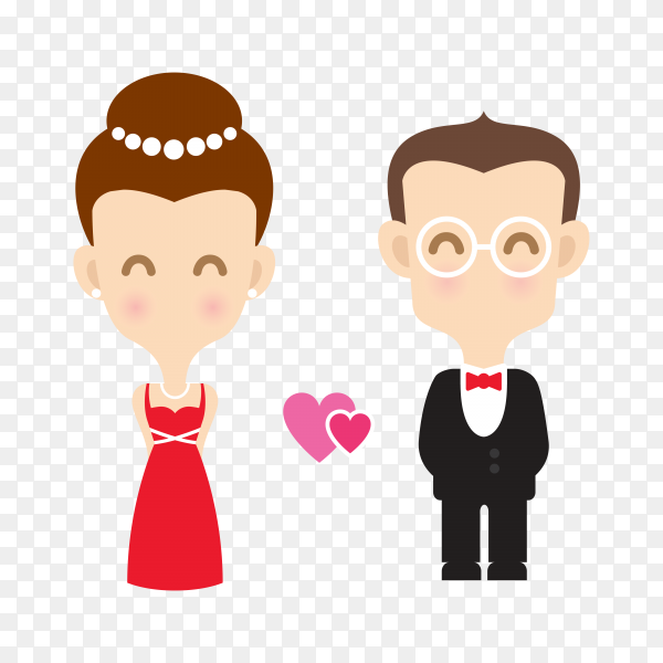 Cute wedding bride and groom couple premium vector PNG