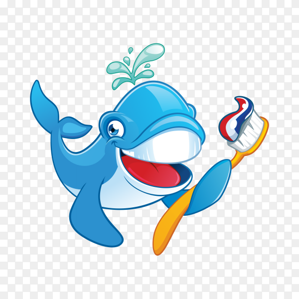 Cute whale holding toothbrush illustration on transparent background PNG