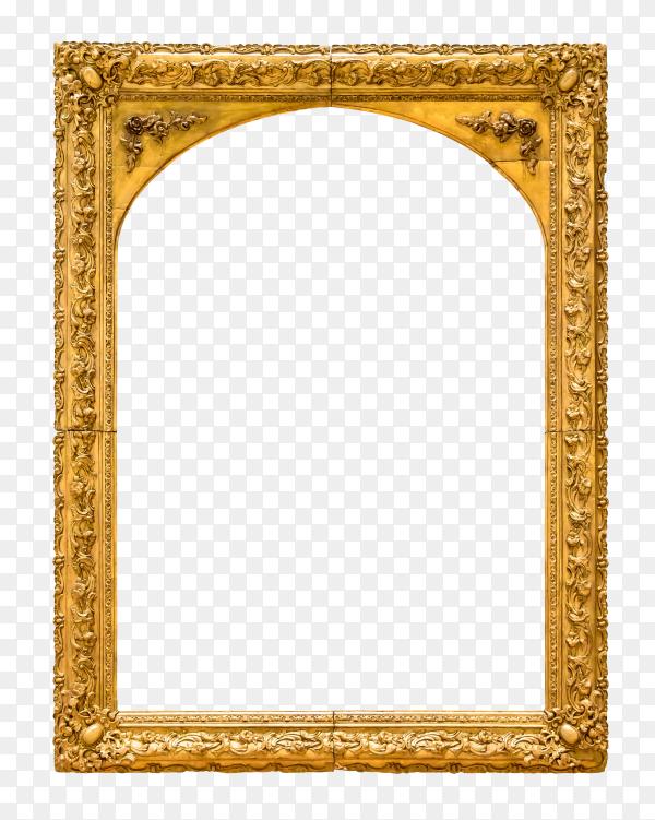 Decorative golden frame and border on transparent background PNG