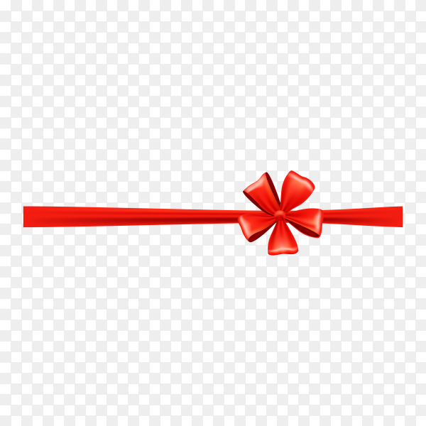 Decorative red bow with red ribbon for gift decor on transparent background PNG.png