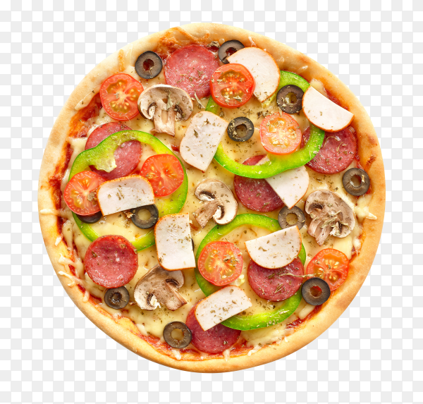 Delicious Pizza with mozzarella and salami on transparent background PNG