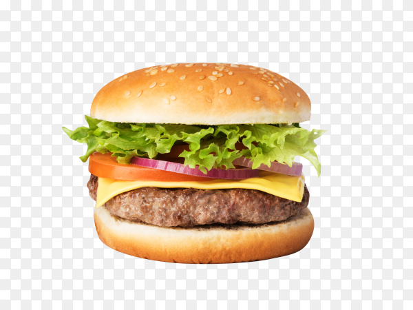Delicious cheese burger isolated on transparent background PNG