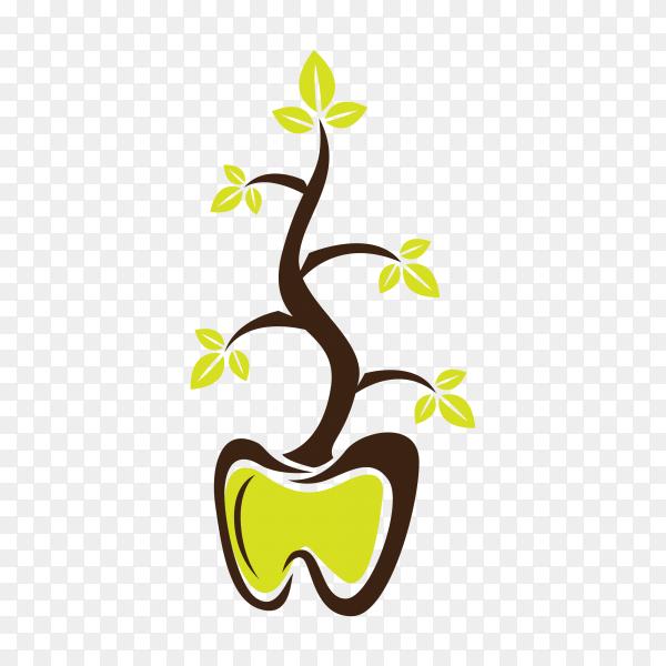 Dental herbal logo template on transparent background PNG.png