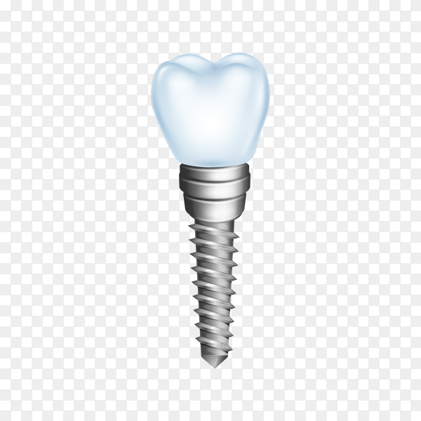 Dental implant isolated on transparent background PNG