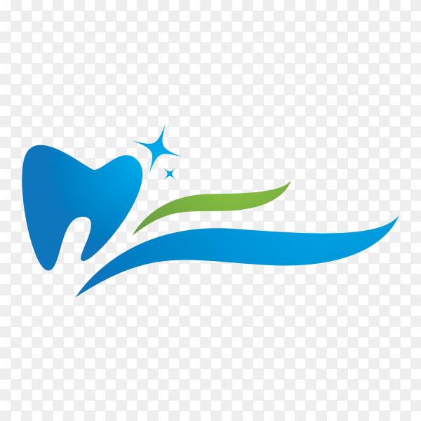 Dental logo Template with flat design on transparent background PNG