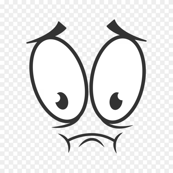 Disappointed emoticon isolated frustrated emotion. upset sad smiley, line art emoji on transparent background PNG