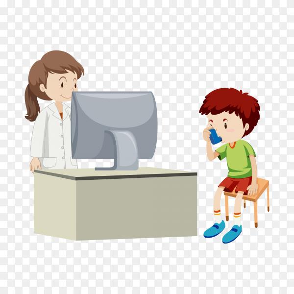 Doctor examining little boy illustration premium vector PNG