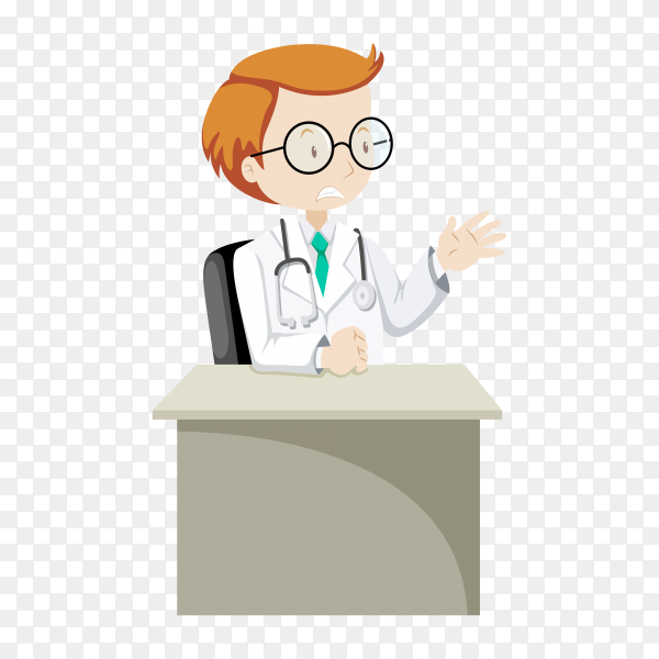 Doctor in uniform and stethoscope illustration on transparent background PNG