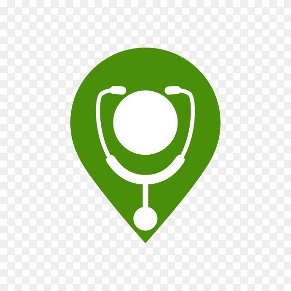 Doctor medical logo in green color on transparent background PNG