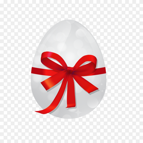 Easter egg with red bow and ribbon on transparent background PNG
