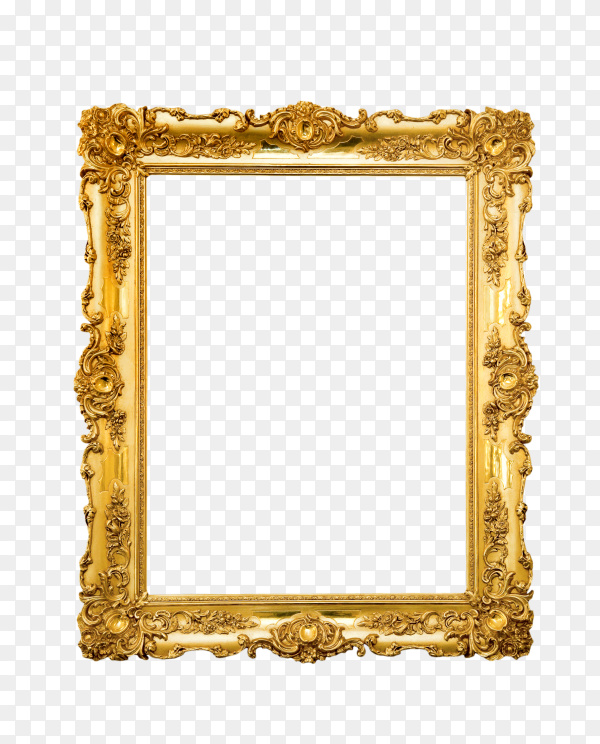 Empty picture frame on transparent background PNG