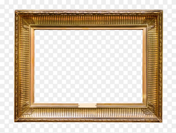 Empty vintage Wooden picture frame on transparent background PNG