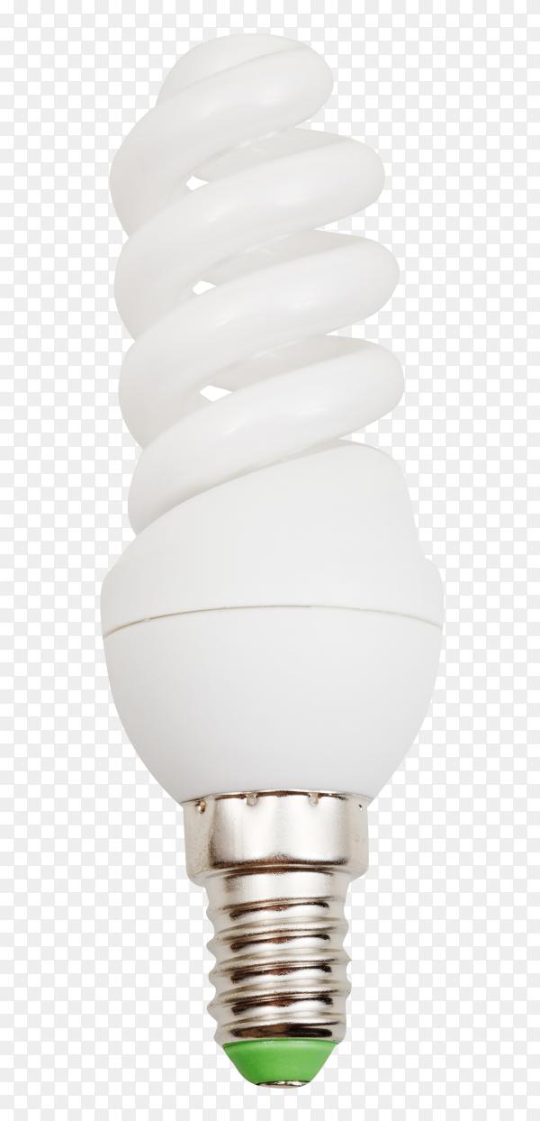 Energy saving fluorescent light bulb on transparent background PNG