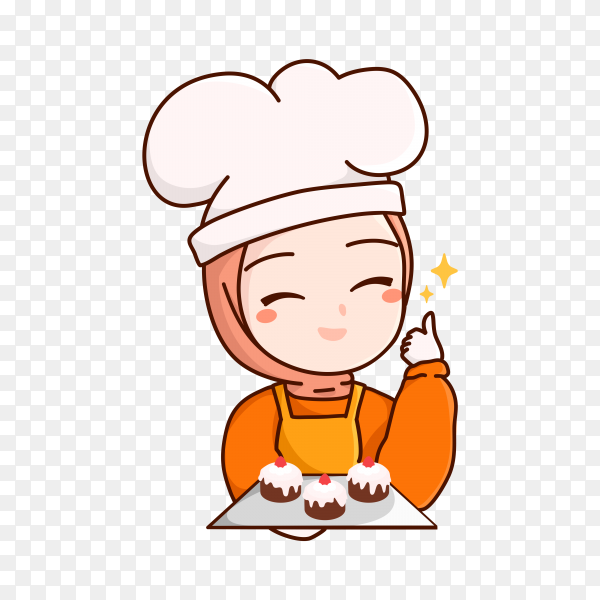 Female chef in flat design on transparent background PNG