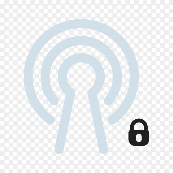 Flat design wifi signal template on transparent background PNG
