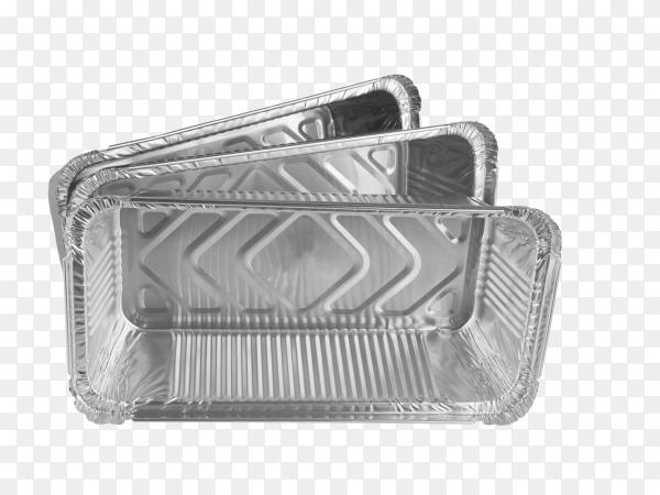 Foil trays for food on transparent background PNG