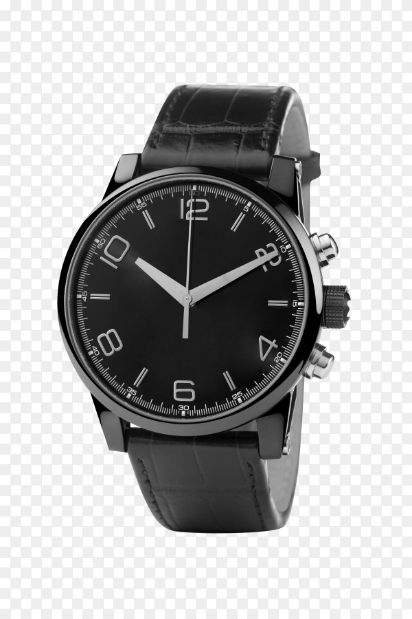 Front view of luxury watch, black leather and silver on transparent background PNG