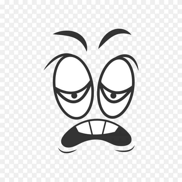 Funny face with emotion of disgust black and white sketch on transparent background PNG