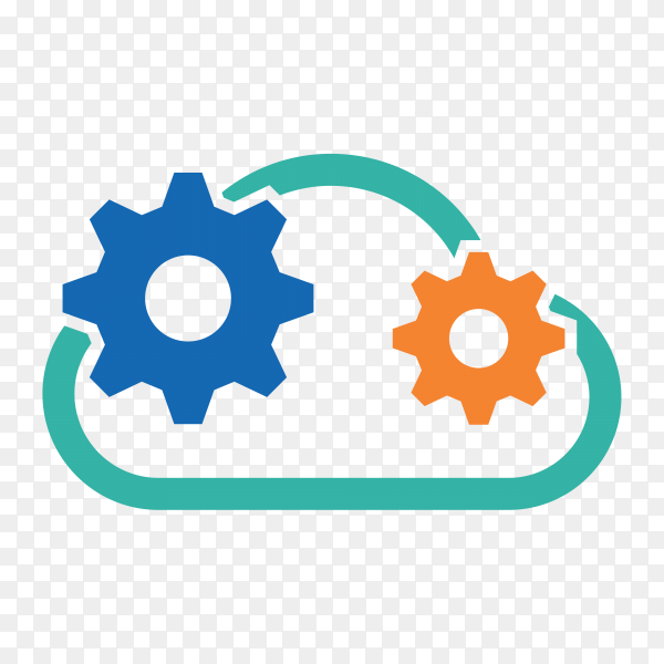 Gears logo template on transparent background PNG