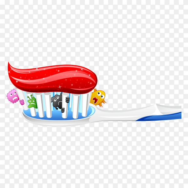 Germs In Tooth Brush illustration on transparent background PNG