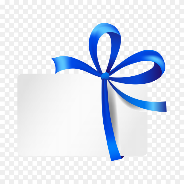 Gift card with ribbon and satin Blue bow isolated premium vector PNG.png