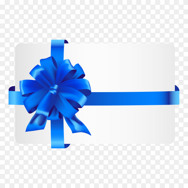Gift card with ribbon and satin Blue bow on transparent background PNG.png
