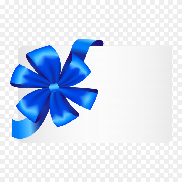 Gift card with ribbon and satin Blue bow premium vector PNG.png