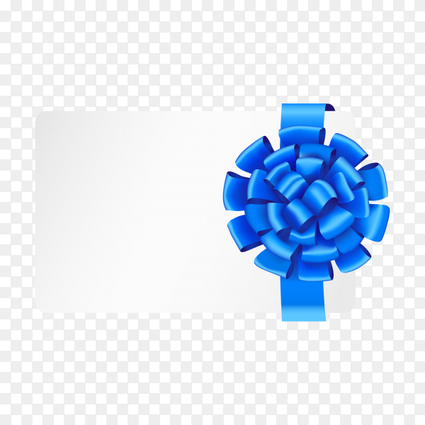 Gift card with ribbon and satin blue bow illustration on transparent background PNG.png