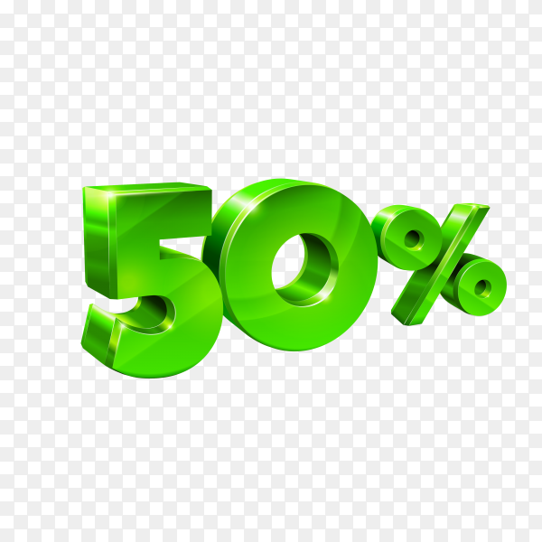 Glossy green 50 fifty percent off on transparent background PNG