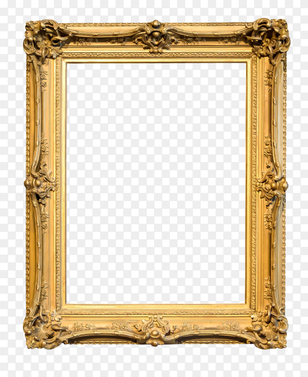 Gold decorative picture frame isolated on transparent background PNG