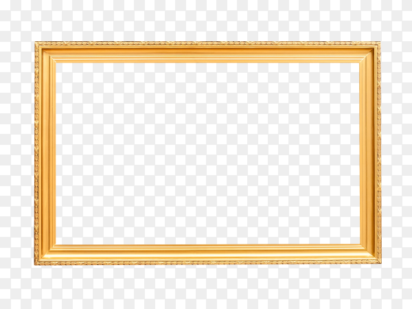 Gold photo or picture frame on transparent PNG