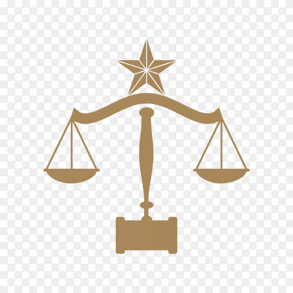 Golden Law firm, lawyer services logo on transparent background PNG