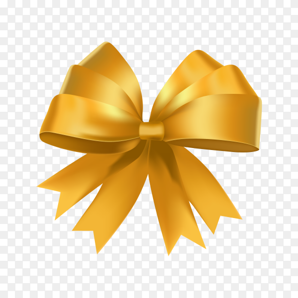 Golden bow and ribbon on transparent background PNG.png