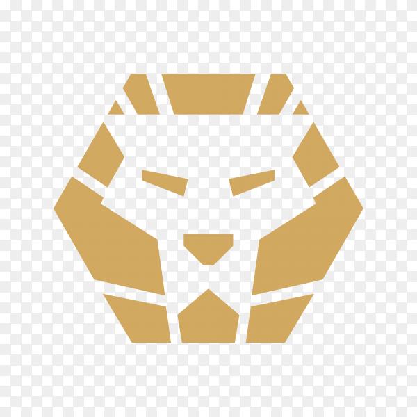 Golden lion logo on transparent background PNG