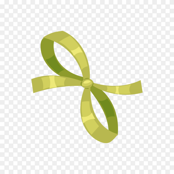 Green bow for gifts on transparent PNG.png