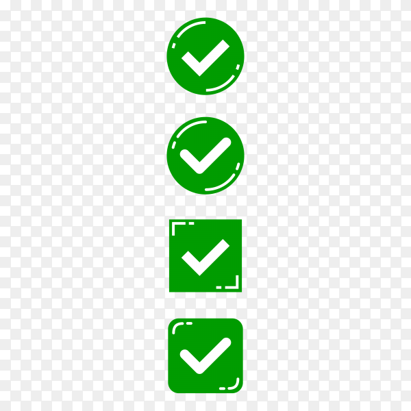 Green check marks buttons on transparent background PNG