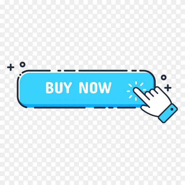 Hand cursor icon with blue Buy now button. Click here for links to websites on transparent background PNG