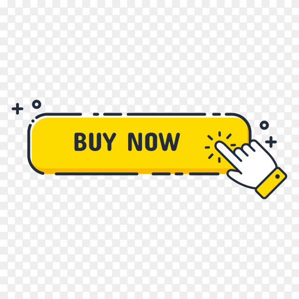 Hand cursor icon with yellow Buy now button. Click here for links to websites on transparent background PNG