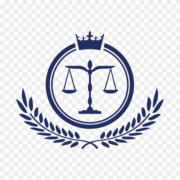 Hand drawn Law firm logo icon design. lawyer logo design in blue color on transparent background PNG
