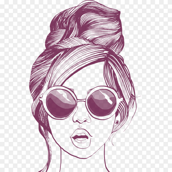 Hand drawn beautiful girl on transparent background PNG