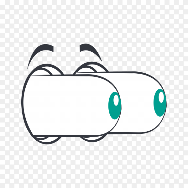 Hand drawn cartoon eye isolated on transparent background PNG